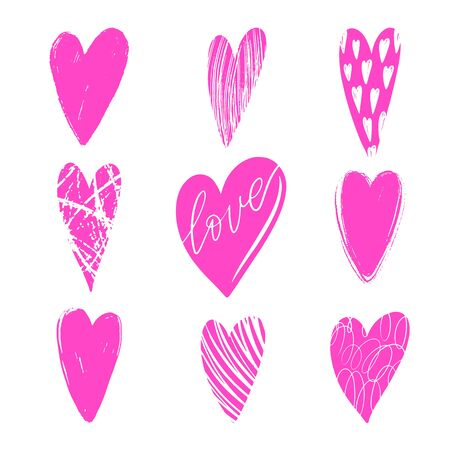 Set of vector texture pink hearts. Love simbol. Beautiful, ornamental hearts for Valentines Day