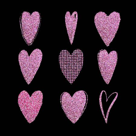 Set of vector texture glitter pink hearts. Love simbol. Beautiful, ornamental hearts for Valentines Day