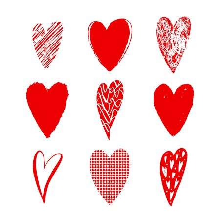 Set of vector texture red hearts. Love simbol. Beautiful, ornamental hearts for Valentines Day