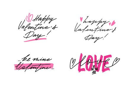 Set of fancy lettering quote for Valentines Day greeting cards and poster, prints. Hand drawn text in fashionable style