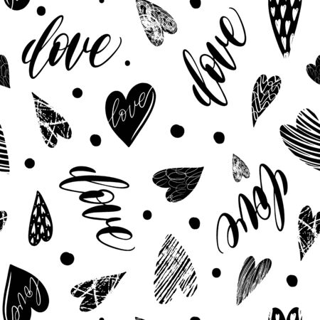 Seamless pattern with hand drawn texture hearts for fabric, background, postcard, wallpaper, paper. Vector illustration pattern. Hearts background