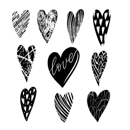 Set of vector texture hearts. Love simbol. Beautiful, ornamental hearts for Valentines Day
