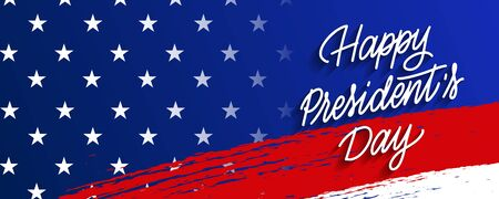 Festive banner, poster for Presidents Day in blue and red colors with stars and stripes, state symbols and elements of the flag. Happy Presidents Day phrase
