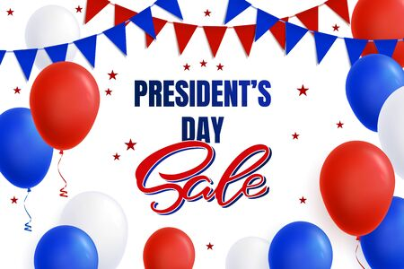 Design of an advertising banner, a poster for the President's Day for a store, a site in red and blue colors. Presidents Day sale