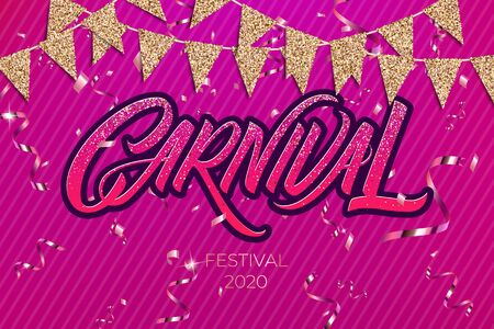 Colorful, vibrant carnival poster. Greeting card festival of music and dance. Vector background for holiday poster.