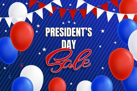 Design of an advertising banner, a poster for the Presidents Day for a store, a site in red and blue colors. Presidents Day sale