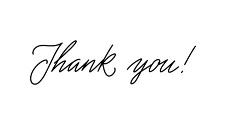 Lettering thank you wrote by brush. Thank You calligraphy. Ilustracja