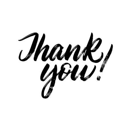 Belettering dank u geschreven door borstel. Dank u kalligrafie.