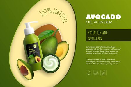 Design avocado cosmetics product advertising for catalog, magazine. Mock up of cosmetic package. Moisturizing cream, gel, milk body lotion with avocado oil.