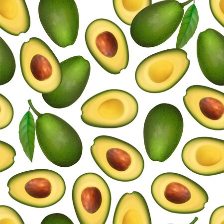 Realistic avocado pattern. Tropical fruit. 3d illustration whole avocado and sectional view Ilustracja