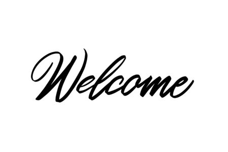 Lettering welcome wrote by brush. Welcome calligraphy. Ilustrace
