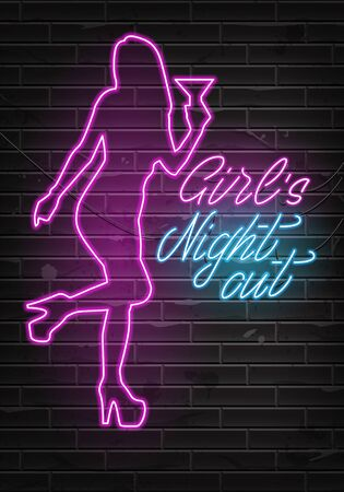 Advertising poster neon design Girls Night out. Party Invitation Booklet for Girls. Neon sign. Vector illustration