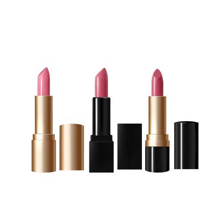 Set of realistic, pink lipsticks. 3D vector illustration of lipstick