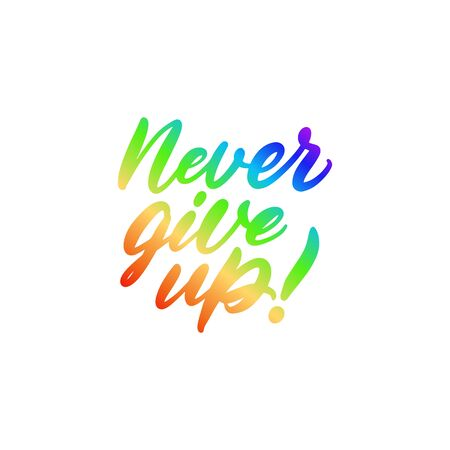 Quote never give up in rainbow colors Vektorové ilustrace