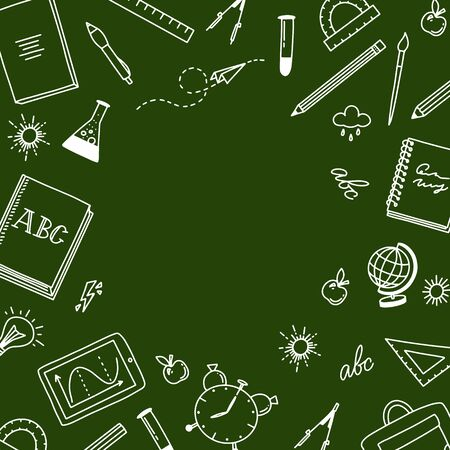 Back to school green background. Doodle style illustration with school objects