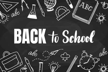 Back to school handlettering on the black back with school things. Doodle style illustration with school objects Illustration