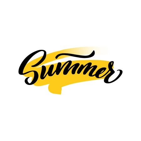 hello summer lettering wrote by brush. Hello summer calligraphy.