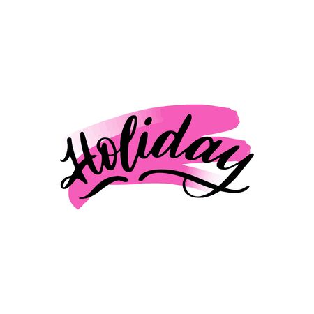 Holiday lettering wrote by brush. Holiday calligraphy. Ilustrace