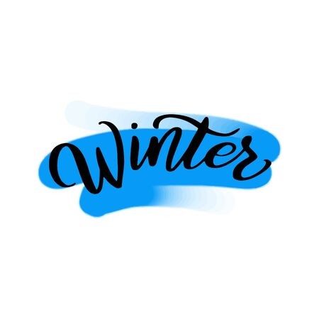 Winter lettering wrote by brush. Hello winter calligraphy.