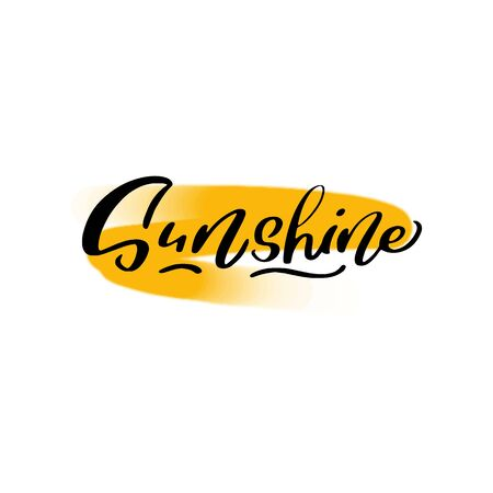 Sunshine lettering wrote by brush. Sunshine calligraphy.