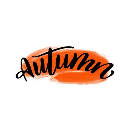 Autumn lettering wrote by brush. Autumn calligraphy.
