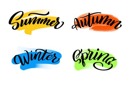 Summer, autumn, winter, spring lettering wrote by brush. Hello summer calligraphy. Illustration