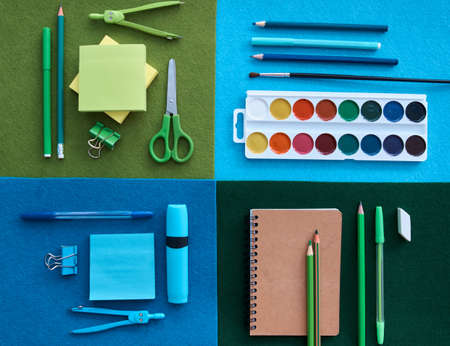 Stationery set on black background. School supplies top view for advertising and promotional items. Back to school concept