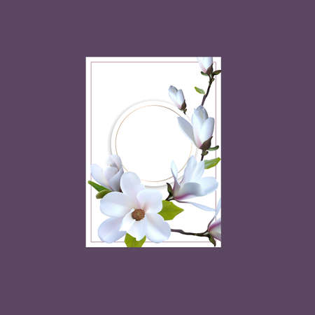 Banner, Greeting card with magnolia flowers, Card with realistic magnolia. Premade arrangement flowers.