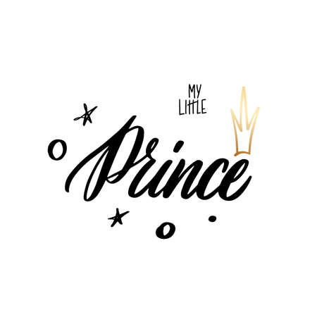 Little Prince Handwritten lettering for printing on clothes and souvenirs Illusztráció