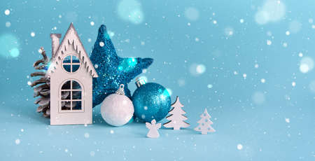 Merry Christmas and Happy New Year blue background. Christmas holiday background with copy space for your text Reklamní fotografie - 158727238