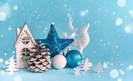 Merry Christmas and Happy New Year blue background. Christmas holiday background with copy space for your text
