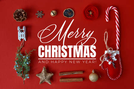 Merry Christmas and Happy New Year greeting card. Christmas background with festive decoration and text