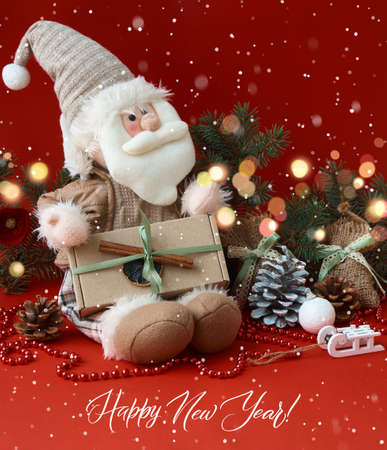 Merry Christmas and Happy New Year greeting card with Santa Claus. Christmas background with festive decoration and text