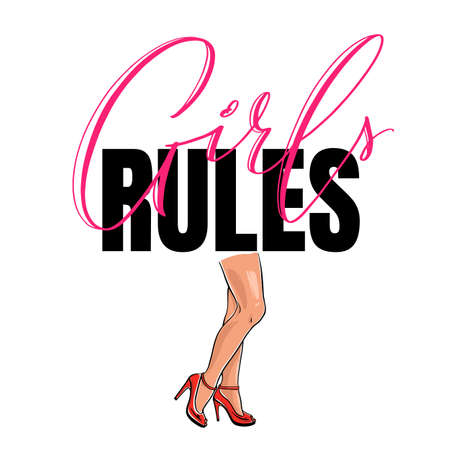 Postcard with quote Girls rules. Fashion illustration