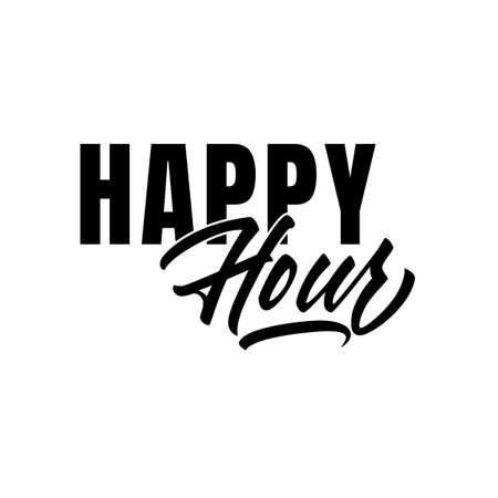 Happy Hour lettering in good quality in vector. Brush pen script style in vector Illusztráció