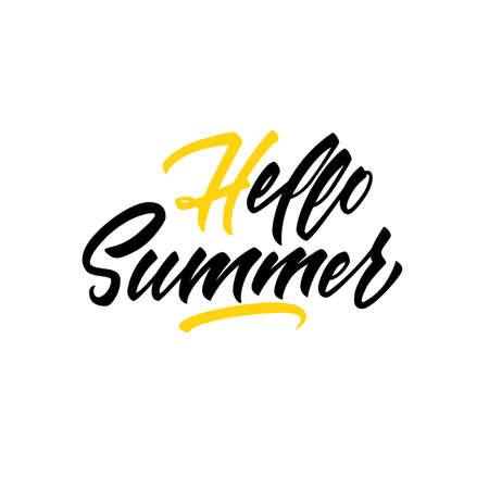 Hello summer modern lettering. Brush pen script in vector