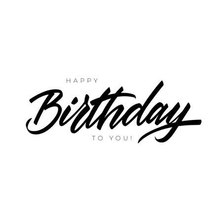 Happy Birthday greeting or invitation card. Hand lettering typography template. Vector lettering of excellent quality Illusztráció