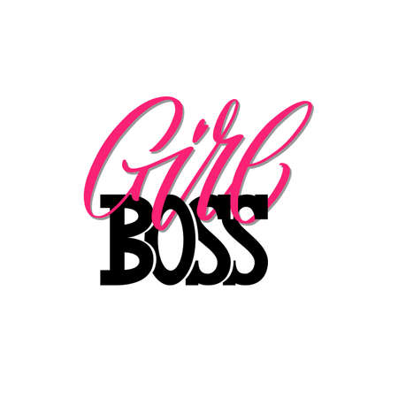 Girl boss a quote. Lettering girl boss as postcard Illusztráció
