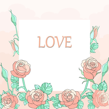Floral Vector Vintage Card with roses, in vintage style