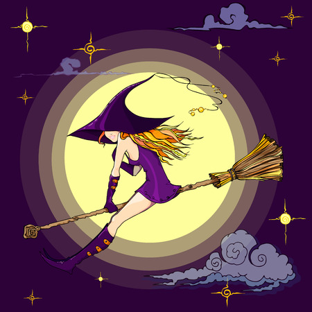 Halloween Witch flying on a broom Funny character Isolated element from the set for a festive design and advertising Vector illustration Illustration