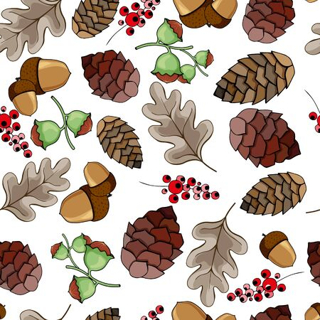 Seamless pattern with acorns, pine cones, nuts, berries and autumn leaves. vector illustration Banco de Imagens