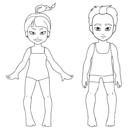 Kids summer holidays. Black and white set characters Vektoros illusztráció