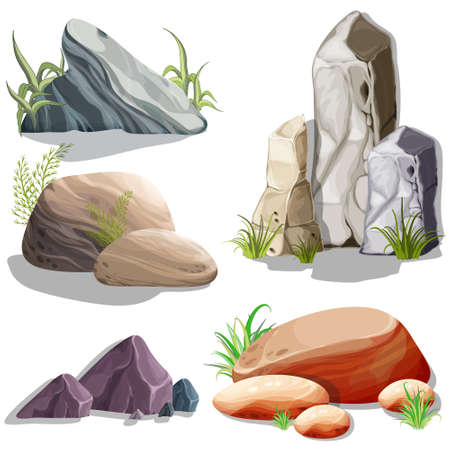 Set of isolated stones, boulders. Vector objects. Bright background images for print, create web graphic design, user interface, card, poster.