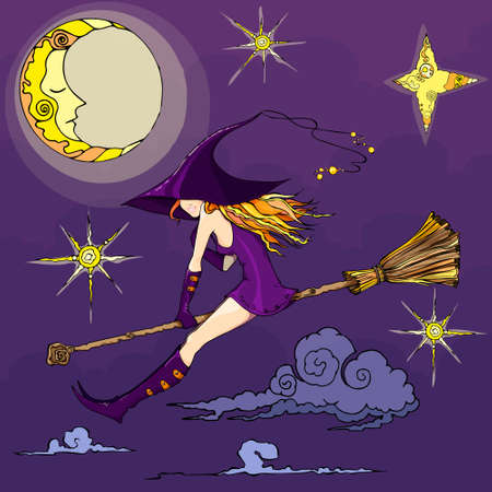 witch illustration for halloween