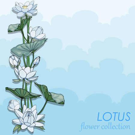 Card with blue lotus. Sky flower blossom greeting card. Cool and beautiful blue water lily flowers with leaf in the pond water with blue sky 向量圖像