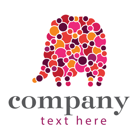 patchwork: Simple elephant logo made with circles or bubbles