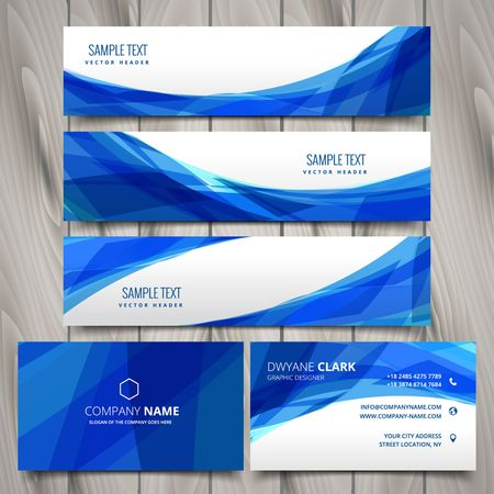 blue card: abstract set of web banners and business cards