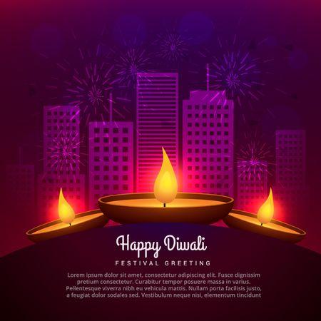 fuegos artificiales: Diwali Diya lugar enfrente de diseño de edificios