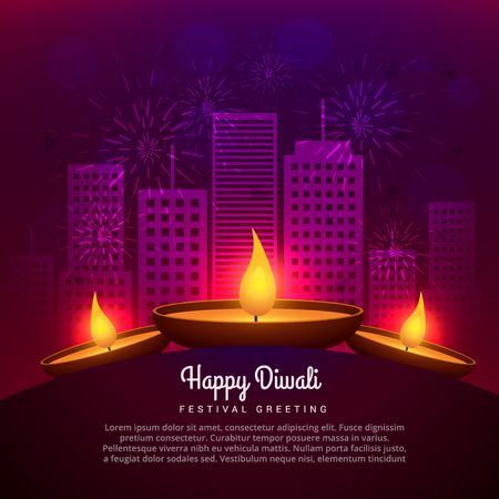 diwali celebration: diwali diya place infront of building design