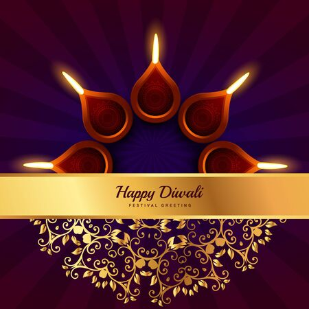 diwali celebration: happy diwali greeting design background Illustration